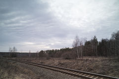 Railway in the evening. Royalty Free Stock Photos