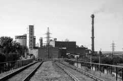Railway and factory. Industries and transportation. Black and white photography Stock Image