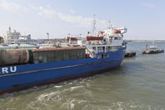 Railway ferry `Petrovsk` in the loading port of the port of Caucasus Stock Photos