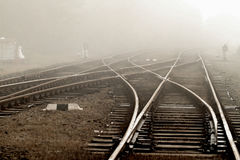 Railway in fog Royalty Free Stock Photo