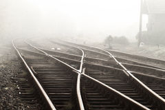 Railway in fog Stock Photo