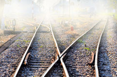 Railway in fog Royalty Free Stock Photography
