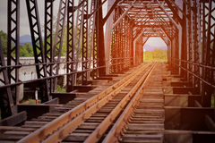 Railway For High Speed Train Between City. Railway With Tunnel Structure For Cross The River. Civil Engineer Plan To Maintenance Stock Photos