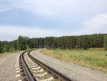 Railway. In forest Royalty Free Stock Photos
