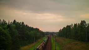 Railway in the forest, hyper time-lapse. Railway in the forest, hyper time lapse stock footage