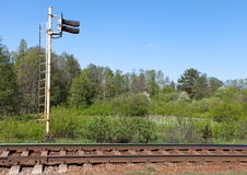 Railway fragment with semaphore Stock Photography