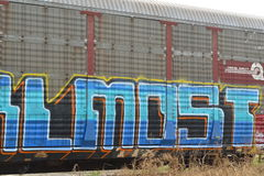 Railway freight car graffiti Stock Photos