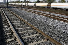 Railway with freight train Stock Image