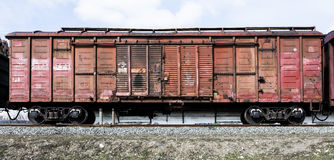 Railway freight wagon. Loaded with wood Royalty Free Stock Images