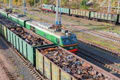The railway freight wagons. Trains of the Russian Railways compa Royalty Free Stock Photography