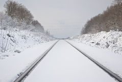 The railway. Fresh white snow. Royalty Free Stock Photography