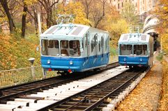 Railway funicular. Is an autumn Kiev , Ukraine stock photos