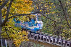 Railway funicular is an autumn Kiev stock images