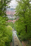 The railway of funicular Stock Images