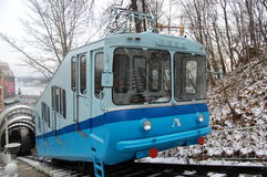 Railway funicular at winter. Kiev , Ukraine Stock Photography