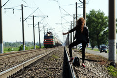Railway girl Royalty Free Stock Photography