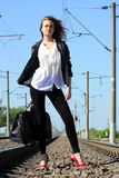 Railway girl Stock Images