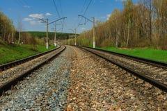 Railway goes to horizon Royalty Free Stock Photos