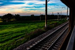Railway from the window of the train car royalty free stock images