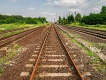 Railway going far away everyday carrying many people different points. Perscpective view of the railway royalty free stock photo