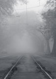 Railway going to fog Stock Photography