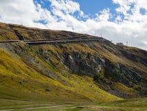 Railway of Gornergrat rack railway, on mountains royalty free stock photography