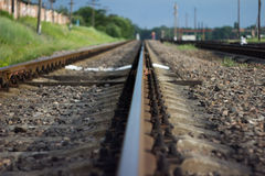 Railway. The railway, gravel and trees on the horizon Stock Image