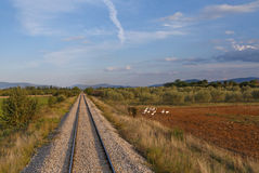 Railway in Greece. Landscape with railway in Greece Royalty Free Stock Image