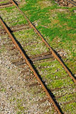 Railway. Green grass and gravels Royalty Free Stock Photos