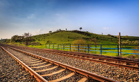 Railway and green hill. In Gorzow Wielkopolski, Poland. Landscape photograpy Royalty Free Stock Image