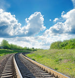 Railway in green landscape Stock Photos