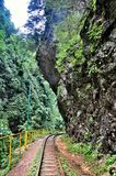 Railway in Guam gorge on one side of the rocks, the other a deep precipice and seething fast river Stock Images
