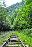 Railway in Guam gorge on one side of the rocks, the other a deep precipice and seething fast river Stock Photo