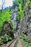 Railway in Guam gorge on one side of the rocks, the other a deep precipice and seething fast river. Railway in Guam gorge on the edge of precipice for the Stock Image