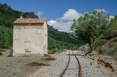 Railway with guard building, Sardinia, Italy Royalty Free Stock Photography