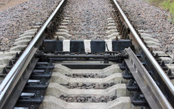 Railway hand placed for visibility in striped black-and-white. Royalty Free Stock Photos