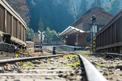 The railway heading for the vintage station. royalty free stock images
