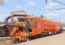 Railway Heavy Duty Machines Train On The Station