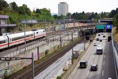 Railway and highway Stock Image