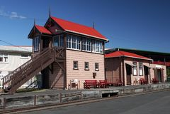Railway: historic train station platform Royalty Free Stock Image