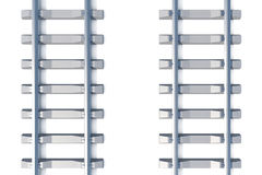 Railway horizontal top view on white background. 3d illustration Stock Photo