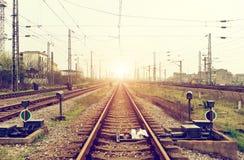 Railway Hub. Rail transportation hub, dusk landscape Royalty Free Stock Photography