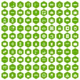 100 railway icons hexagon green Royalty Free Stock Photo
