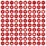 100 railway icons hexagon red. 100 railway icons set in red hexagon isolated vector illustration Stock Image