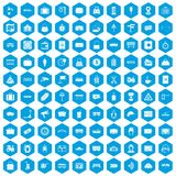 100 railway icons set blue. 100 railway icons set in blue hexagon isolated vector illustration Royalty Free Illustration