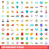 100 railway icons set, cartoon style Royalty Free Stock Image