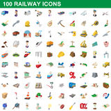 100 railway icons set, cartoon style. 100 railway icons set in cartoon style for any design vector illustration Stock Images