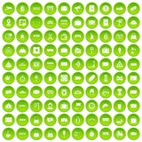 100 railway icons set green. 100 railway icons set in green circle isolated on white vectr illustration stock illustration