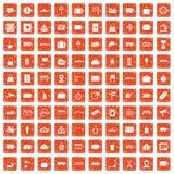 100 railway icons set grunge orange. 100 railway icons set in grunge style orange color isolated on white background vector illustration Stock Photos