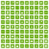 100 railway icons set grunge green Royalty Free Stock Photos